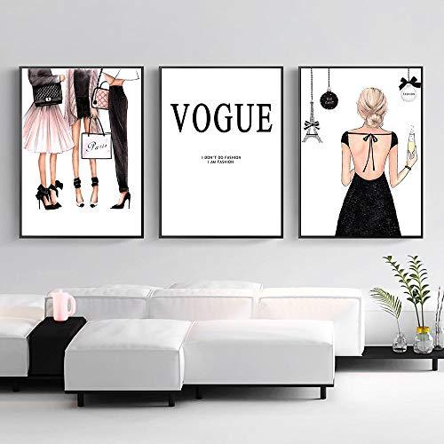 OCRTN Mode Mädchen Leinwand Poster Vogue Bild Paris Wandkunst Leinwand Malerei Vogue Poster Moderne Wandbilder für Wohnzimmer Dekor - 40x50cmx3 (kein Rahmen)