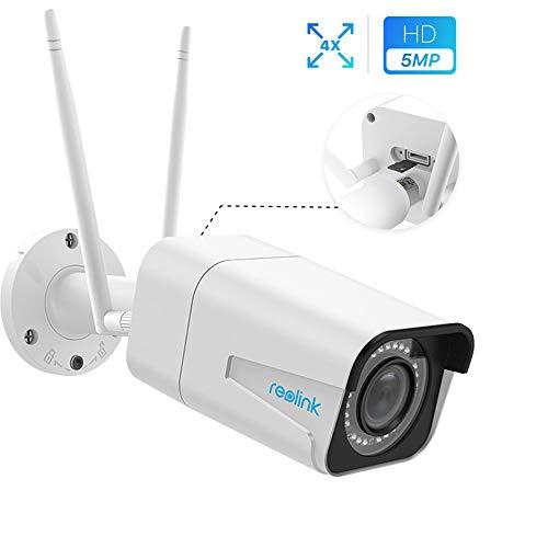 Reolink 5MP draadloze beveiligingscamera buiten, dual band 2.4/5GHz WiFi IP camera met 4X optische zoom, IR nachtzicht IP66 waterdichte bewegingsdetectie audio micro SD-kaart Slot, RLC-511W