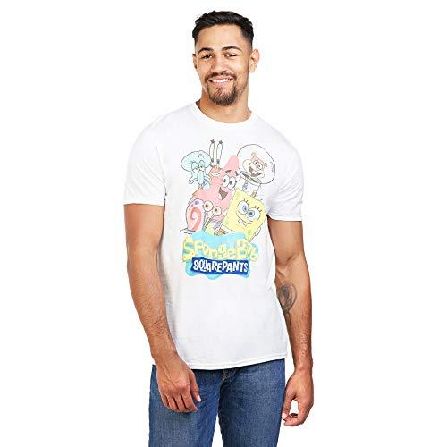 SpongeBob Squarepants Spongebob Group Camiseta, Blanco, M para Hombre