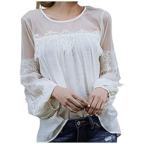 Meikosks Lace Patchwork T-Shirt Women's Long Sleeve Blouse Perspective Loose Tops Elegant Tunic White