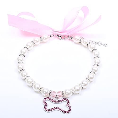 Perro Perlas Perlas Collar Collar Rhinestons Bone Charm Post Puppy Joyería Accesorios For Perros Mujer Gatos Pequeño Medio (Color : Pink Bone, Size : L)