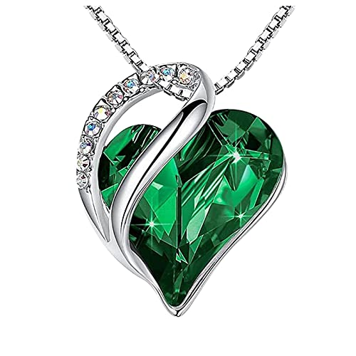 haoricu Love Heart Pendant Necklace with Birthstone Crystals, Jewelry Gifts for Women Birthday/Anniversary Day/Party Green