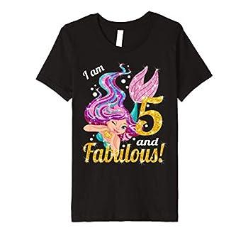 Kids 5th Birthday Mermaid Outfit  5 and Fabulous Birthday Girls Premium T-Shirt