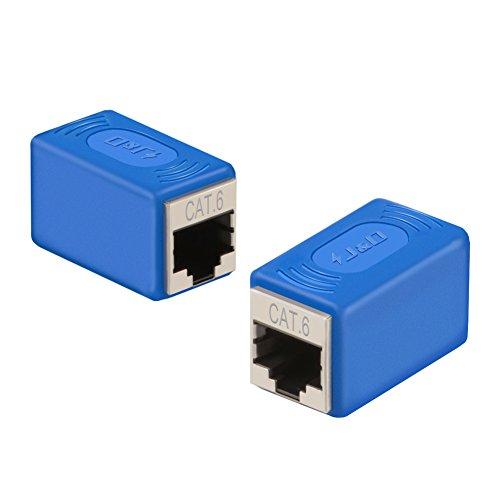J&D 2-Pack Adaptador de Extensor de Acoplador Ethernet - Versión Actualizada, RJ45 Extensor de Acoplador Ethernet - Soporta Cat6/Cat5e/Cat5 Estándares, Cables de Adaptador Blindados Hembra a Hembra