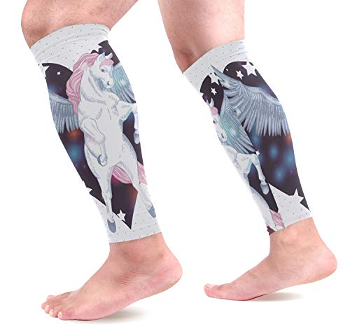Ahomy - Maniche a compressione per polpaccio, per uomini e donne, Pegasus sul cuore aumenta la circolazione e i crampi alle gambe, 1 paio