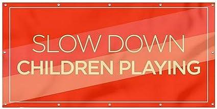 8x4 CGSignLab Slow Down Children Playing Modern Diagonal Heavy-Duty Outdoor Vinyl Banner