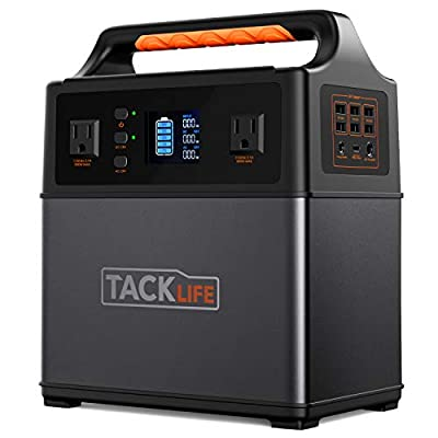 TACKLIFE P40 400Wh Portable Power Station Pure Sine Wave 110V / 300W AC / DC Solar Generator with Multiple Outlets, Rechargeable Backup Power Supply for Outdoor Using