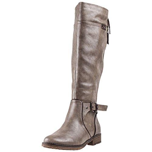 MUSTANG Shoes Stiefel in Übergrößen Beige 1261-501-318 große Damenschuhe, Größe:42