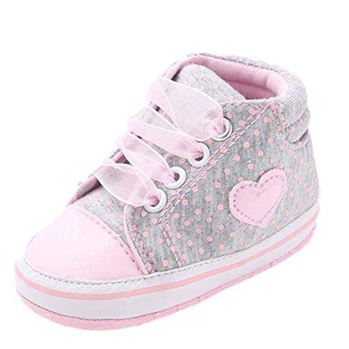 kingko® Chaussures Fille Toile Bébés garçons Chaussures Sneaker anti-dérapant souple Sole Toddler adapté pour 0-18 mois bébé (12~18 Mois, gris)
