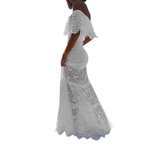 Women's Off Shoulder Mermaid Wedding Dress Formal Floral Lace Long Sleeve Evening Party Maxi Gown White