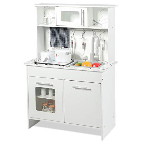 GOPLUS Kinderküche aus Holz, Spielküche mit Wasserhahn, Spielzeug-Küchenzeile, Spielzeugküche für Mädchen und Jungen, Holzküche Kinder, Kinderspielküche mit Zubehör, Weiß
