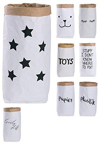 Lifestyle Lover Papiersack Paper Bag rund Kraftpapier Beutel Braun Weiß 'Sterne'