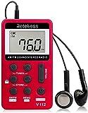 Retekess V112 Radio de Poche Portable Mini Récepteur AM FM Personnel avec Batterie Rechargeable et Écouteurs (Rouge)