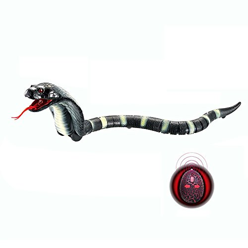 Remote Control Snake Rechargeable Simulation RC Snake Toy 17  Long Fake Cobra Animal Trick Terrifying Mischief Toy for Kids Children by Rely2016 (Black)