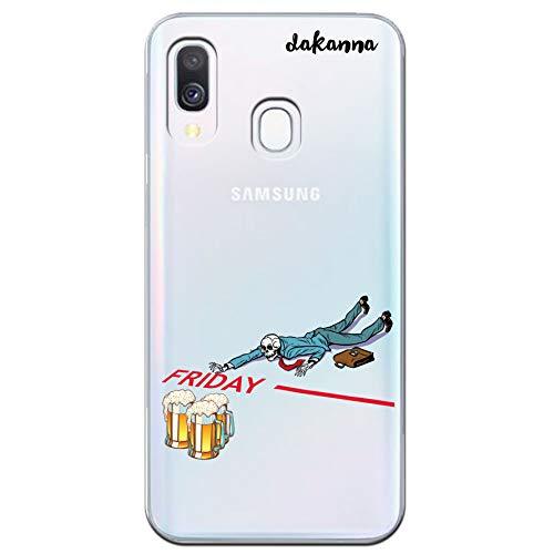 dakanna Custodia per [Samsung Galaxy A40] Cranio con Birra e Frase Venerdì, Cover in Gel di Silicone TPU Morbido di Alta qualità con [Sfondo Trasparente]