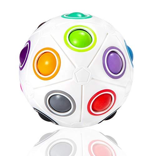 ROXENDA Größer Regenbogenball, Puzzle Zauberball mit 19 Kugeln Rainbow Ball Geschicklichkeitsspiel - Brain Teaser & Stress Ball für Kinder und Erwachsene