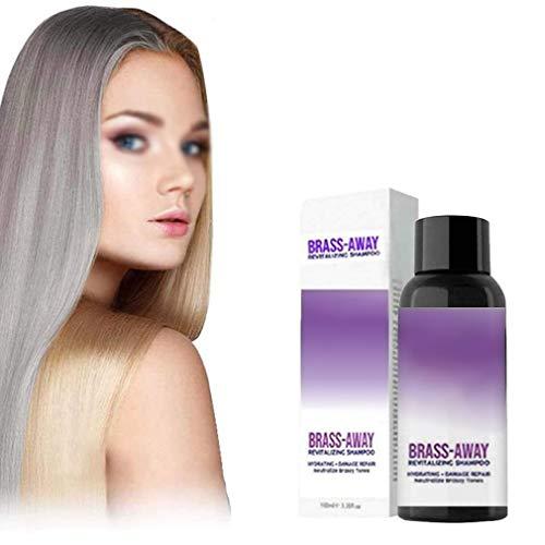Brass-Corrector Violet Shampoo, 100ml No Yellow Shampoo para cabello rubio, plateado o castaño con reflejos, elimina los tonos amarillos y cobrizos, revitaliza el rubio (30ML)