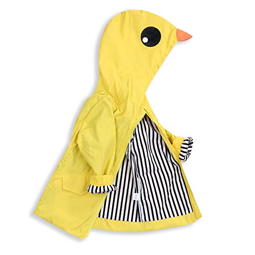 Toddler Baby Boy Girl Duck Raincoat Cute Cartoon Hoodie Zipper Coat Outfit (Yellow, 100)