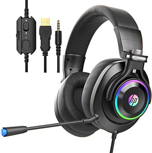 HP Wired Gaming Headphones Xbox One Headset with Surround Sound RGB LED Lighting Noise Isolating product image