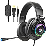 HP Wired Gaming Headphones Xbox One Headset with Surround Sound, RGB LED Lighting, Noise Isolating Over Ear Gaming Headset with Adjustable Mic, for PS5,PS4, Xbox One, Nintendo Switch, PC, Laptop-Black