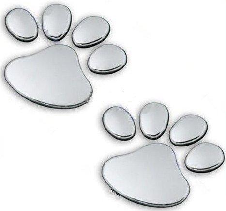 PRESKIN - 3D Pfoten Chrom Auto Aufkleber Hund/Katzen Tatzen Emblem Decal Logo Sticker (StickerPaw)