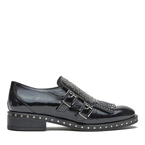 Zapato Kanna Flecos Hebillas Flecos Negro 39 Negro