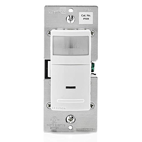 Leviton IPS06-1LW Decora Motion Sensor In-Wall Switch, Auto-On, 5A, Single Pole or 3-Way, White
