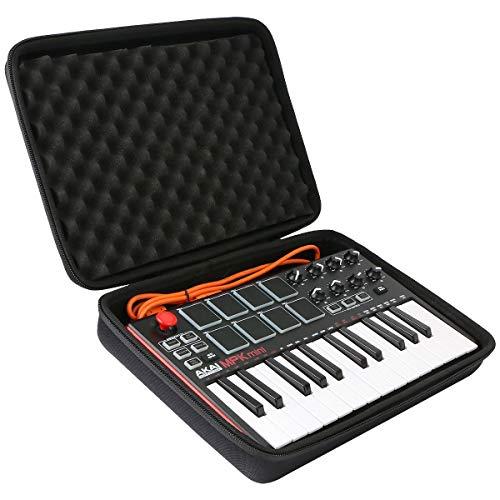 co2CREA Funda rígida de viaje para AKAI Professional MPK Mini MK3 - Controlador de teclado MIDI USB de 25 teclas (sólo funda negra)