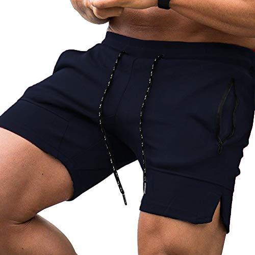 JINIDU Herren Bodybuilding Kurz Hose Turnhosen Kurz Workout Shorts Leichte Sportübungen Fitness mit Reißverschlusstaschen,Navy blau,S