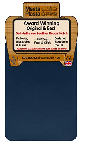 MastaPlasta - Parche Autoadhesivo para reparación de Cuero. XL: 28 x 20 cm. Elige EL Color Kit de Primeros Auxilios para sofás, Asientos de Coche. Arregla Agujeros, rasgaduras, Quemaduras, Man