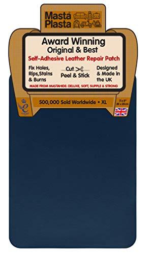 MastaPlasta Leder-Reparaturflicken, selbstklebend. Größe XL: 28 x 20 cm. Farbe wählen. Erste Hilfe für Sofas, Autositze. Reparieren Sie Löcher, Risse, Verbrennungen, Flecken
