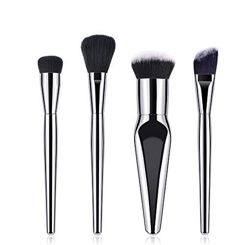 MEIYY Pinceau De Maquillage Argent 4Pcs Maquillage Pinceaux Fondation Poudre Ombre À Paupières Lèvres Maquillage Pinceau Cosmétique