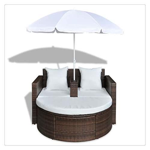 WNDRZ Muebles De Exterior Cuna con Sombrilla Sofás De Jardín De Resina Trenzada