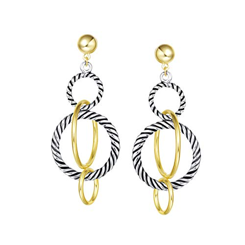 UNY Dangle Earring Designer Brand Inspired Jewelry Multi Hoops Twisted Cable Wire 2 Tone Christmas Gift