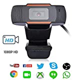 PC Webcam for Streaming HD 1080P,USB Pro Computer Web Camera Video Cam for Mac Windows Laptop Conferencing Gaming Xbox Skype OBS Youtube Xsplit GoReact with Microphone