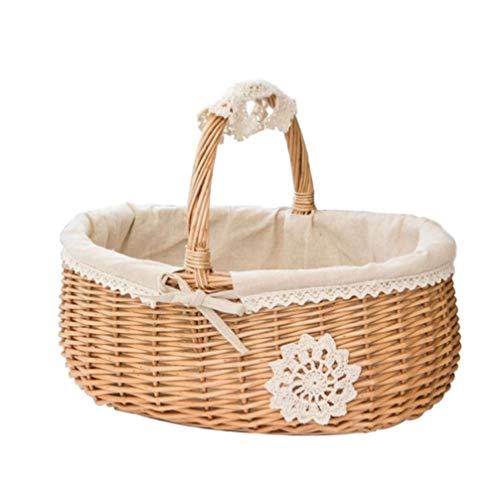 DNAMAZ Cestas Bolsas de Picnic de Mimbre Rattan Rattan Basket Caja de Almacenamiento Almacenamiento Snacks Té de Picnic Canasta de Alimentos Tejido de Almacenamiento de Fruta con la Tapa Decorativas