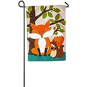 VEPOWER 808412450006 Evergreen Woodland Friends Burlap Garden Flag, 12.5 x 18 inches, Multi