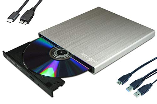 Archgon Star-C Externer HD BD Player, Blu-ray BDXL Brenner extern für PC Laptop USB 3.0 / -C, M-Disc, externes BluRay Laufwerk, External Optical BlueRay Drive extern, Alu Silber