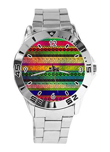 Reloj de Pulsera analógico con diseño de Alpaca Azteca Colorida y línea...