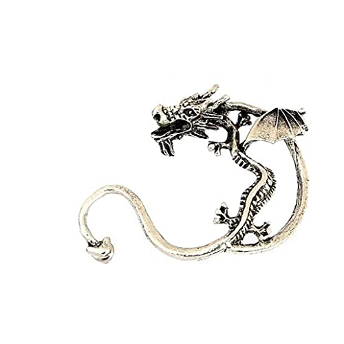 Pendiente De Vendimia Retro con Bronce De Plata Punk Gótico Tentación De Metal Dragón Mordida Oreja Clip Envoltura Pendientes Encanto Puños Pendientes para Mujeres Y Hombres Dragon Pendientes