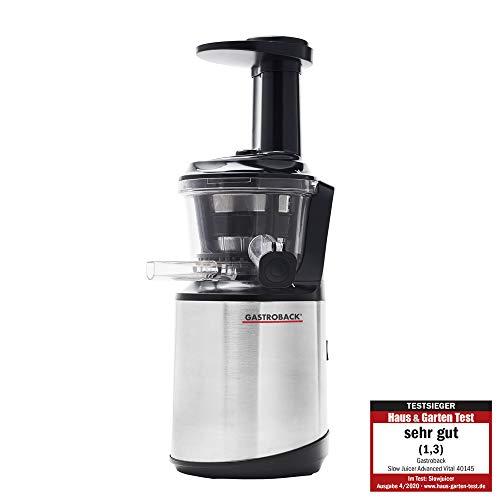 GASTROBACK 40145 Slow Juicer Advanced Vital, starker 150 Watt Motor mit 70 Umdrehungen/min, Press-Schnecke mit verstärktem Edelstahlkern, besonders leise, Edelstahl, schwarz, silber