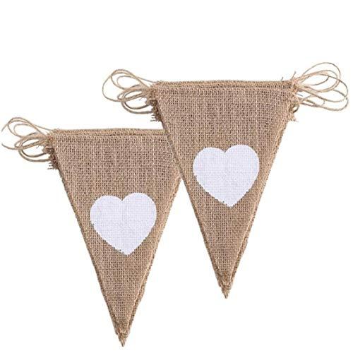 2pcs pennant chain wedding vintage garland jute pennant burlap banner for bridal table photos decoration