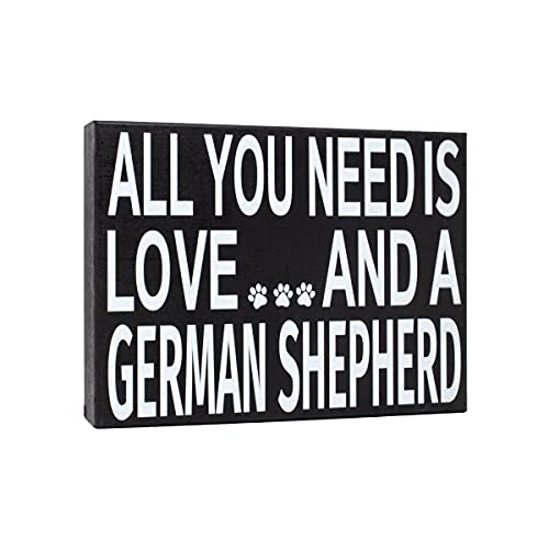 JennyGems All You Need is Love and a German Shepherd | Wooden Box Sign | German Shepherd Dog Home Accent | American Made