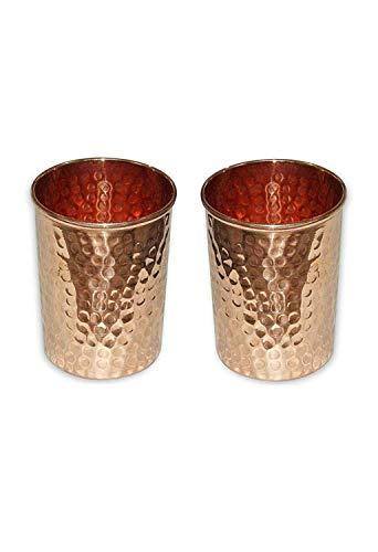 Vaso de vidrio de cobre puro hecho a mano para agua india (Paquete de 2) Capacidad 350 Ml