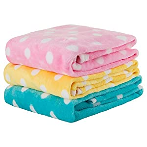Multi-Pack of 3 Pet Blankets for Dog Cat Animal 35 x 27 Inches Fleece Polka Dot Design All Year Round Puppy Kitten Bed Warm Sleep Mat Fabric Indoors Outdoors (Three Colors)