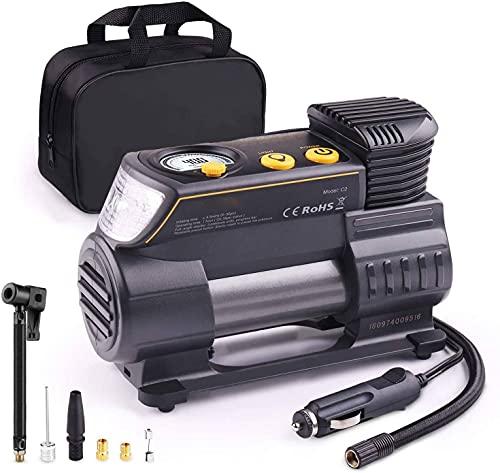 Gener Compresor Aire Coche, 12V Auto Inflactor Ruedas Coche Embalado, Inflador Electrónico con Conector Rápido, Manómetro Digital, 3 Posiciones Luz, Cable Extenso, 4 Adaptadores de Válvulas