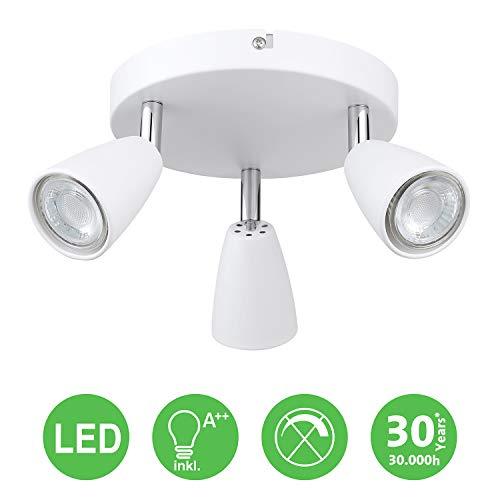 IMPTS LED Deckenleuchte Spotleuchte 3 Flammig Rund Weiss, inkl. 3 x 3W Leuchtmittel GU10 LED 250LM 230V IP20 Warmweiß,Schwenkbar LED Deckenlampe Deckenspot Deckenstrahler