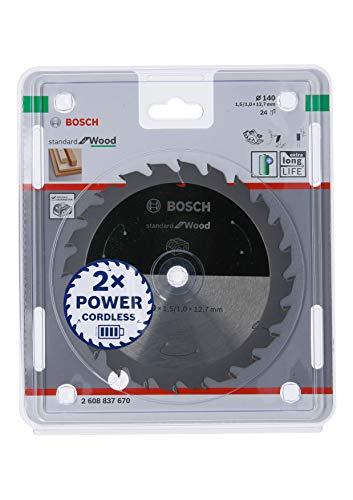 Bosch Professional 2608837670 Disco Standard for Wood, Madera, 24 Dientes, Accesorio de Sierra Circular sin Cable, 140 x 12.7 x 1.5 mm