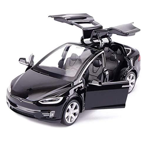 IMBM Model Car Tesla X Off-Road SUV 1:32 Analog Die-Casting Alloy Sound and Light Pull Back Toy Model (Color : Black)