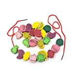 Grizzly 60/pcs Kids Fruit Beads Wooden Stringing Toys Kit Children Threading Beads Game Craft Toys Learning Education Toys Eye Hand Coordination Imagination Ability Return Gifts